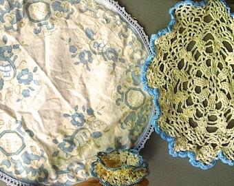 Vintage BLUE Cotton Doilies LOT - 3 Items