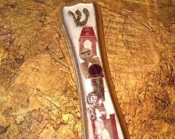 Pearl and Gold Collaged Mezuzah on Etsy