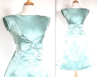 SALE Vintage 1950's Dress // 50s Ice Blue Silk Evening Party Dress // 50's Formal PromGown // DIVINE
