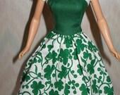 "Handmade 11.5"" fashion doll clothes - white and green shamrock dress"