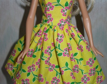 "Yellow and pink floral handmade 11.5"" fashion doll dress"