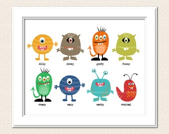 Nursery Art  Monster Mash Printable 8 x 10  Art SALE