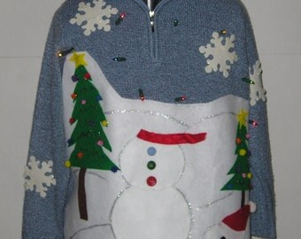 Christmas in July Sale, Headless Snowman , Ugly, Tacky, Funny,  Christmas Sweater,  Ugly Sweater Party, Blue, Light Up, Unisex, Men, Women's