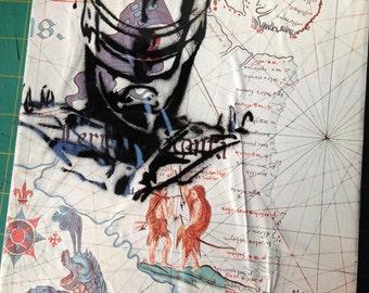 "ROBOCOP -- collage, stencil, spray paint (Original Painting #3) -- 8"" x 10"""