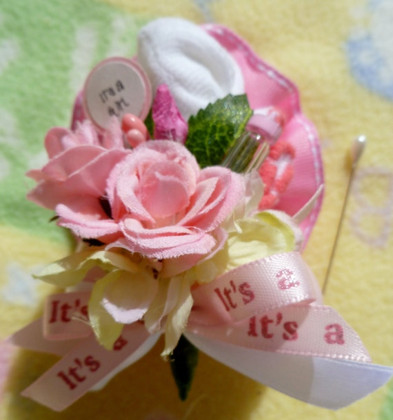 Baby Shower Corsage..Mommy to Be Corsage..Baby Sock Corsage..Boy..Girl..Neutral..Shabby Chic..Burlap..Nautical..Custom Designed Corsage :)
