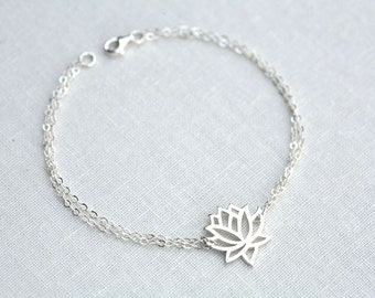 Sale Lotus bracelet,Lotus jewelry,Yoga bracelet,skinny bracelet,Everyday jewelry,Bridesmaid gifts,Wedding Jewelry