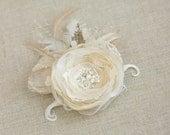 Wedding hair flower Wedding hair piece Champagne Bridal hair clip Bridal hair accessories Wedding hair flower clip Burlap hair flower