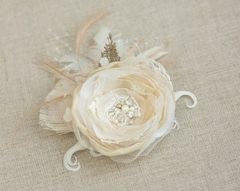 Wedding hair flower Wedding hair piece Champagne Bridal hair clip Bridal hair accessories Wedding flower clip Burlap hair flower