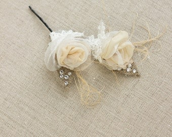 Burlap wedding hair piece Bridal hair Flower Wedding hair pin Small Bridal flower pin Champagne Bridal hair flower Wedding hair piece