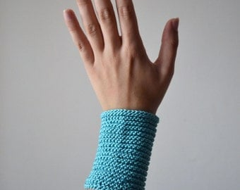 Cotton Wrist Warmers - Aqua Colors Arm Cuff - Turquoise Accessories - Wrist Warmers for Typing - Turquoise Wrist Warmers