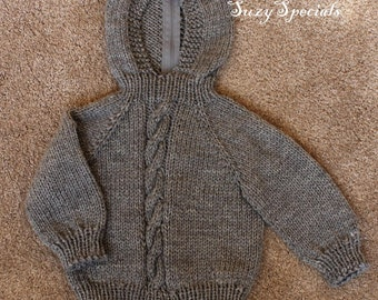 Knitted Hooded Baby Sweater with Back zipper in Heather Gray