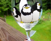 Penguin Wine Glass Hand Painted Black and White Four Happy Dancing Penguins