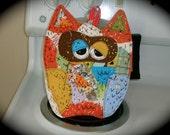 Owl potholder, Old Market Owl, hotpad,made to order