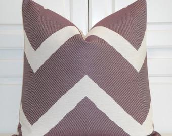 Purple Chevron - Decorative Pillow Cover - IKAT Zig Zag - Plum Pillow  - Sofa Pillow -
