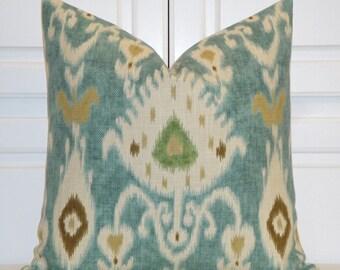 Decorative Pillow Cover -  Kravet IKAT - Throw Pillow - Accent Pillow - Aqua - Green - Tan - Pillow Sham