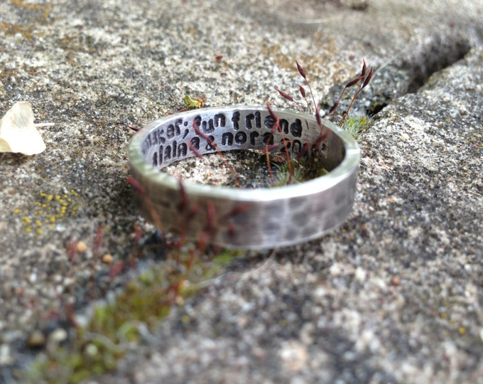Custom Hand Stamped Ring - Solid Hand-Forged Sterling Silver - Customizable - Your Message - Inside and/or Outside - Choice of Font
