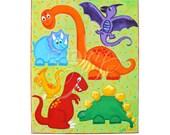 Original Painting for Kids, DINOSAUR JUMBLE, 11x14 Canvas, Dinosaur Art for Baby Boy Nursery