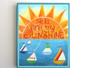 Nursery Decor - You Are My Sunshine - Sailboats - Nautical Art For Kids - 8x10 Nautical Art Prints