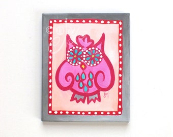 OWL PAINTING, Funky Pink and Gray Owl, 8x10 acrylic art for home, office or nursery