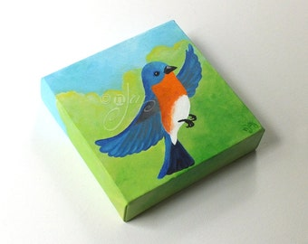 Original Painting, BLUEBIRD, 6x6 Acrylic, Art for Small Spaces