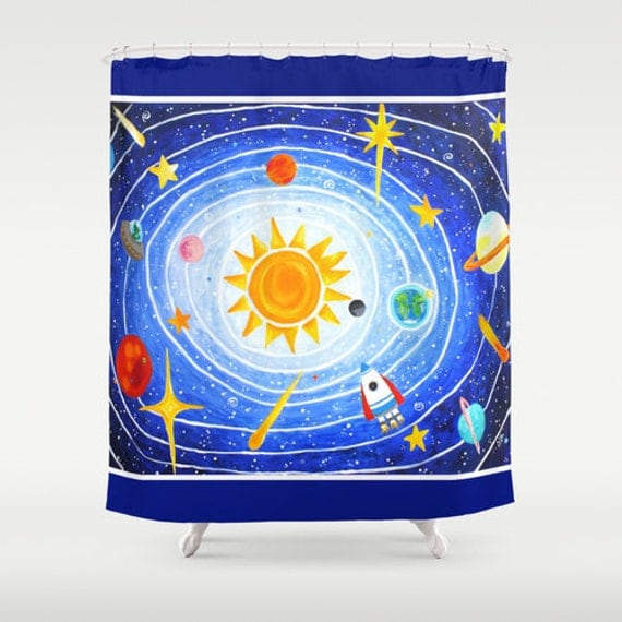 Items similar to shower curtain solar system 5 kids for Space themed bathroom accessories