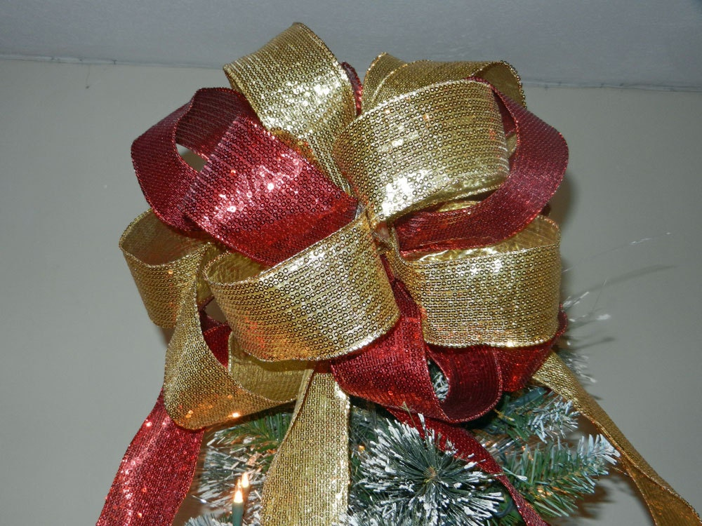christmas tree topper bow red and gold sequin ribbon 6 ft. Black Bedroom Furniture Sets. Home Design Ideas