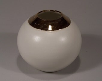 Pure White Round Flower Pot with 24K Gold Rim - Porcelain - 3rd PRICE REDUCTION