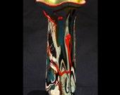 Blown Glass Tall Vase Red Blue White Black Golden Yellow Metallic Gold Interior George Watson Artist  Signed