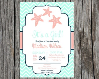 Printed Starfish Baby Shower Invitation, nautical baby shower invitation, starfish, baby girl shower