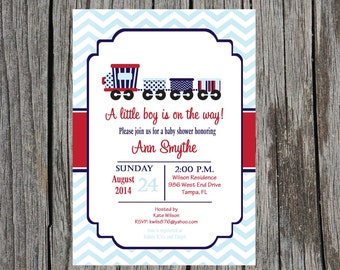 Train Baby Shower Invitation, trains, boy invitation, baby shower, DIY, printable and custom