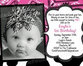 Cowgirl Birthday Invitation, Western Party Invitations, Printable or Printed