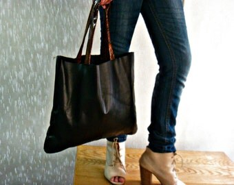 Black Real Leather Tote Bag Purse
