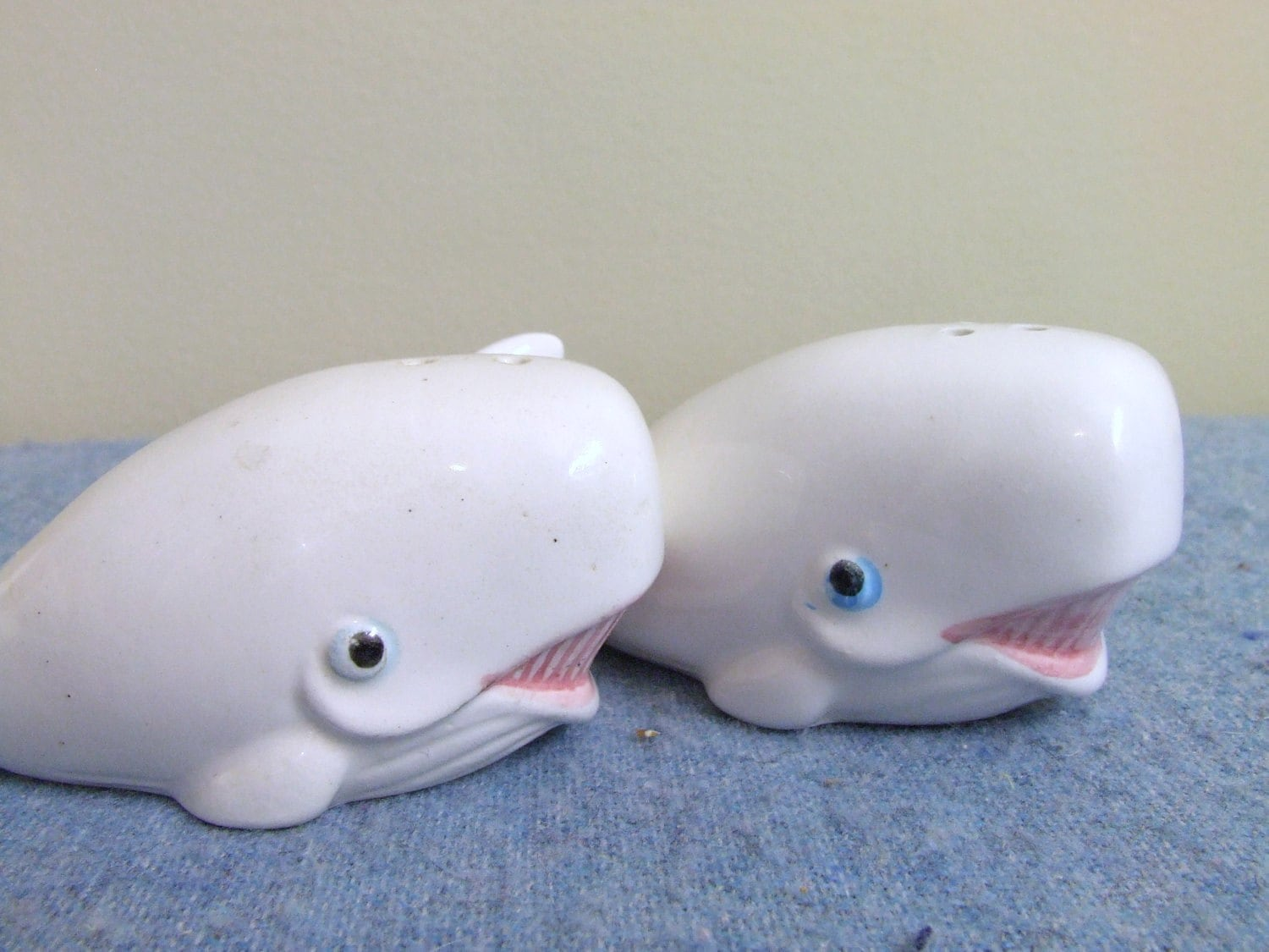Whale Salt And Pepper Shakers Japan Ceramic Collectible
