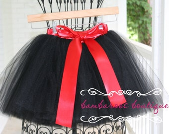 black flower girl dress, black tutu, sewn tutu, red tutu, tulle skirt