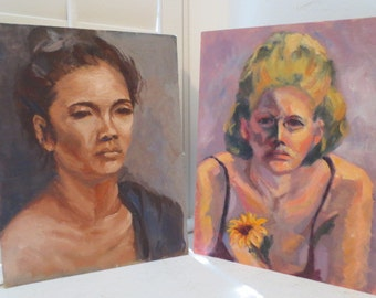 TWO Vintage Oil Portraits Blonde w/ SUNFLOWER & Indonesian ASIAN Woman 1960s