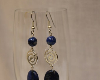 Lapis beads with swirl silver findings earrings