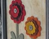Primitive Zinnia Flower Wool Framed Flowers Folk Art Picture
