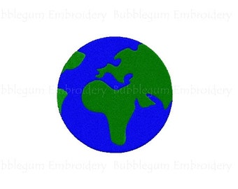 Globe Embroidery Design Instant Download