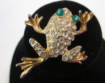 Icky Sticky Frog - Vintage Rhinestone Frog Pin