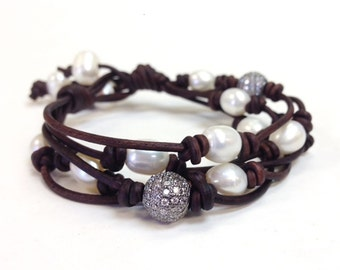 Multi strands Leather and Pearl Bracelet Wrap with or without Swarovski Pave Beads (Ruth B)