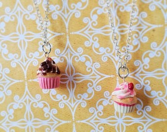 2 bff polymer clay cupcake necklaces (totally customizable)