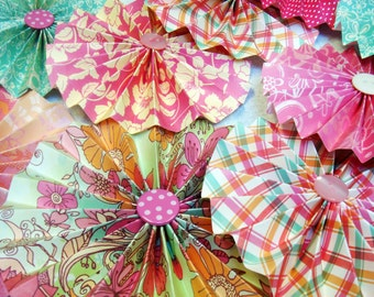 30  Pleated Rosettes  3 to 6 inches FlowersParty Luncheon Decorations