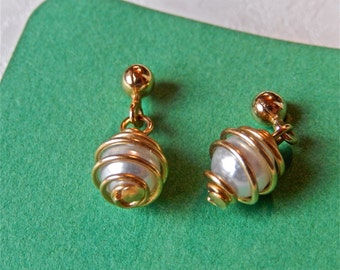 Vintage Wired Wrapped Pearl Post Pierced Earrings