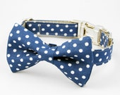 Dog Bow Tie Collar - Blue / Grey Polka Dot
