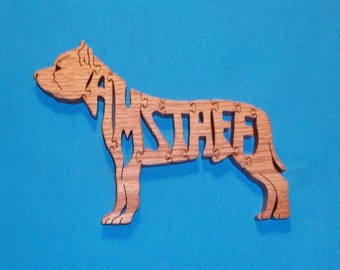 AmStaff (American Staffordshire Terrier) Dog Wooden Puzzle