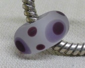 Large Hole Lampwork European Charm Bead Clear with Purple and Black Dots, Etched