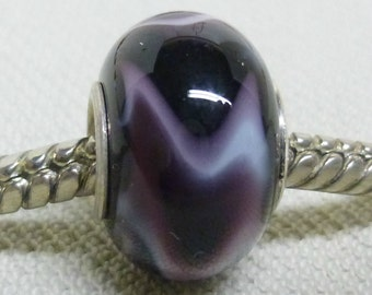 Glass Handmade Lampwork Large Hole Bead Silver Cored European Charm Bead Black with White and Purple
