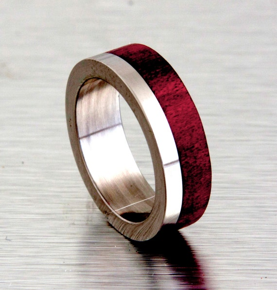 Wood Mens Wedding Bands: Mens Wedding Band With Wood Red Heart Tand Titanium Ring