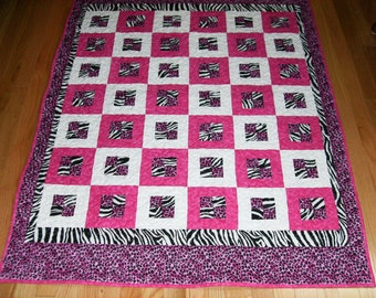 Hot Pink Jungle Theme Baby Crib Quilt