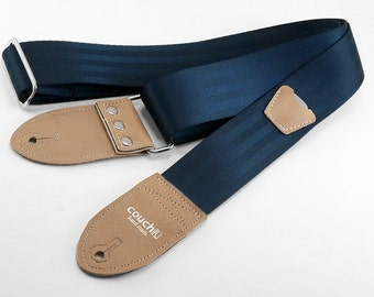 The Navy And Buckskin Seat Belt Guitar Strap With Pickholder